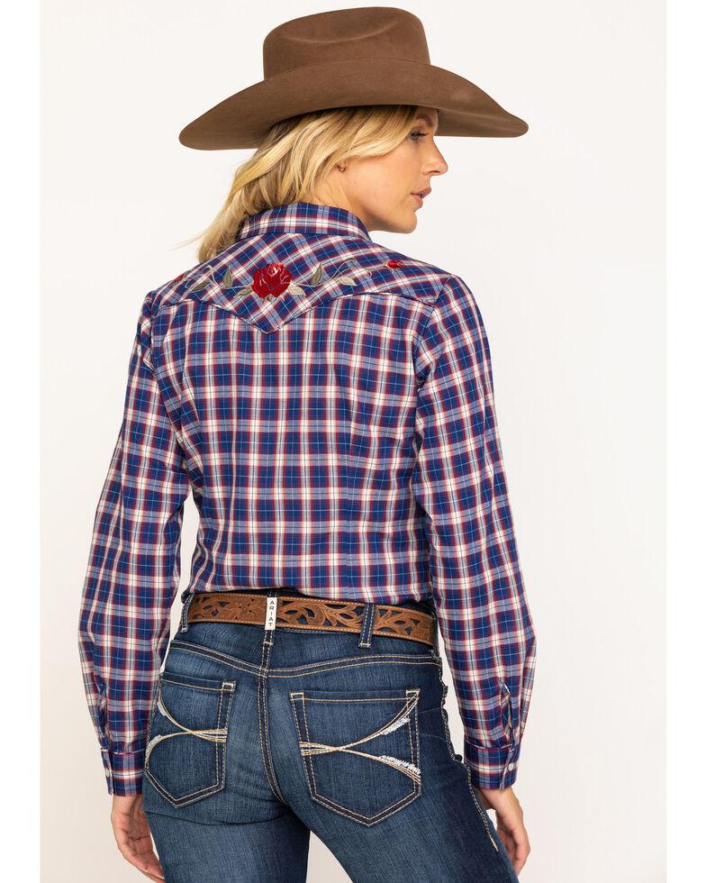 Karman Women's Navy Blue Plaid Rose Embroidered Long Sleeve Western Shirt, Blue, hi-res
