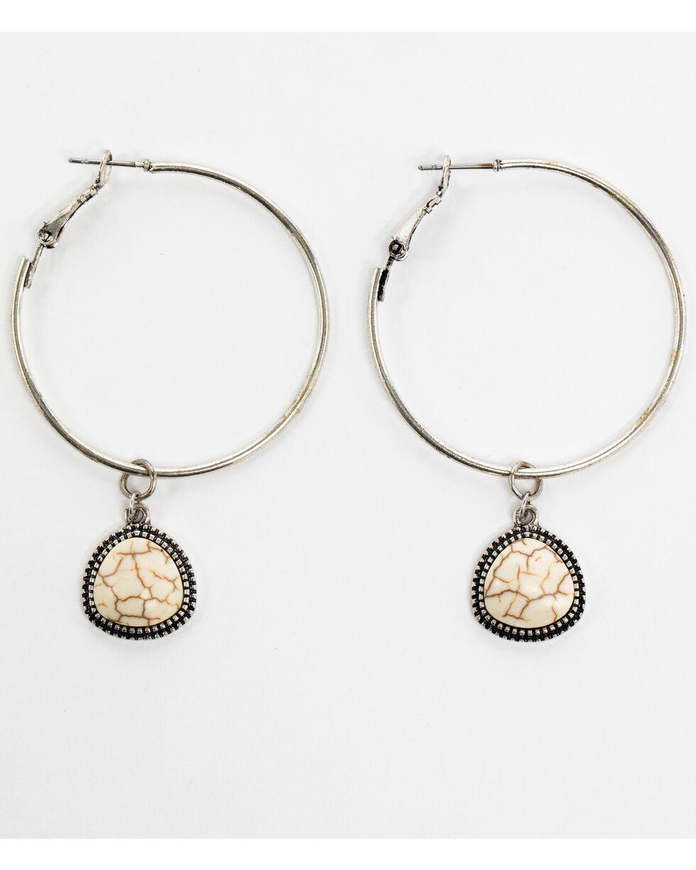 Shyanne Women's White Howlite Hoop Dangle Earrings, Silver, hi-res