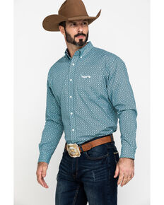 Ariat Men's Relentless Sturdy Stretch Geo Print Long Sleeve Western Shirt , Turquoise, hi-res