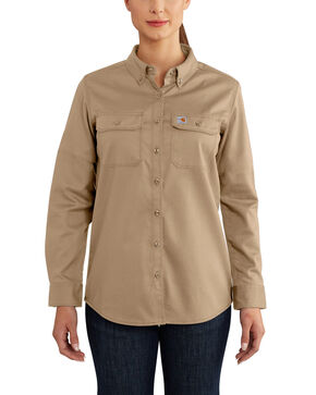 Carhartt Women's Rugged Flex Long Sleeve Shirt, Beige/khaki, hi-res