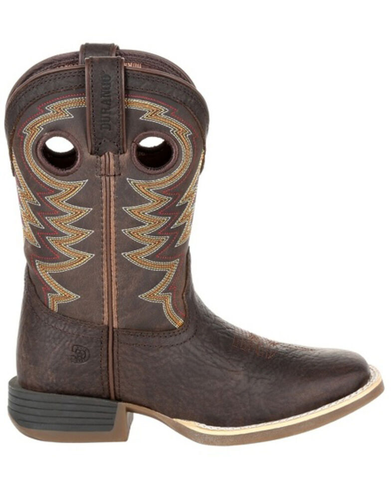 Durango Boys' Lil Rebel Brown Western Boots - Square Toe, Dark Brown, hi-res