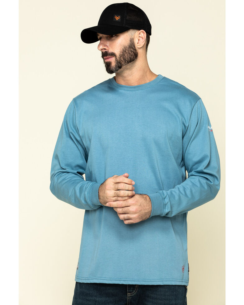 Ariat Men's Blue FR American Oil Graphic Long Sleeve Work T-Shirt , Steel Blue, hi-res
