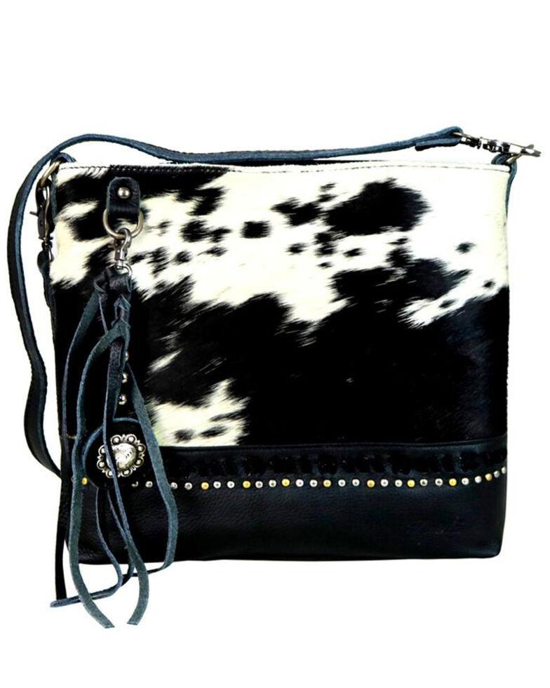 Montana West Women's Delila Black Genuine Leather Hair-On Crossbody Bag, , hi-res