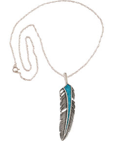 Silver Legends Women's Sterling Silver & Turquoise Feather Necklace, Turquoise, hi-res