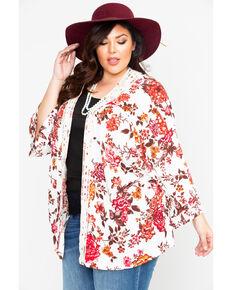Eyeshadow Women's Floral Crochet Kimono- Plus Size, Ivory, hi-res