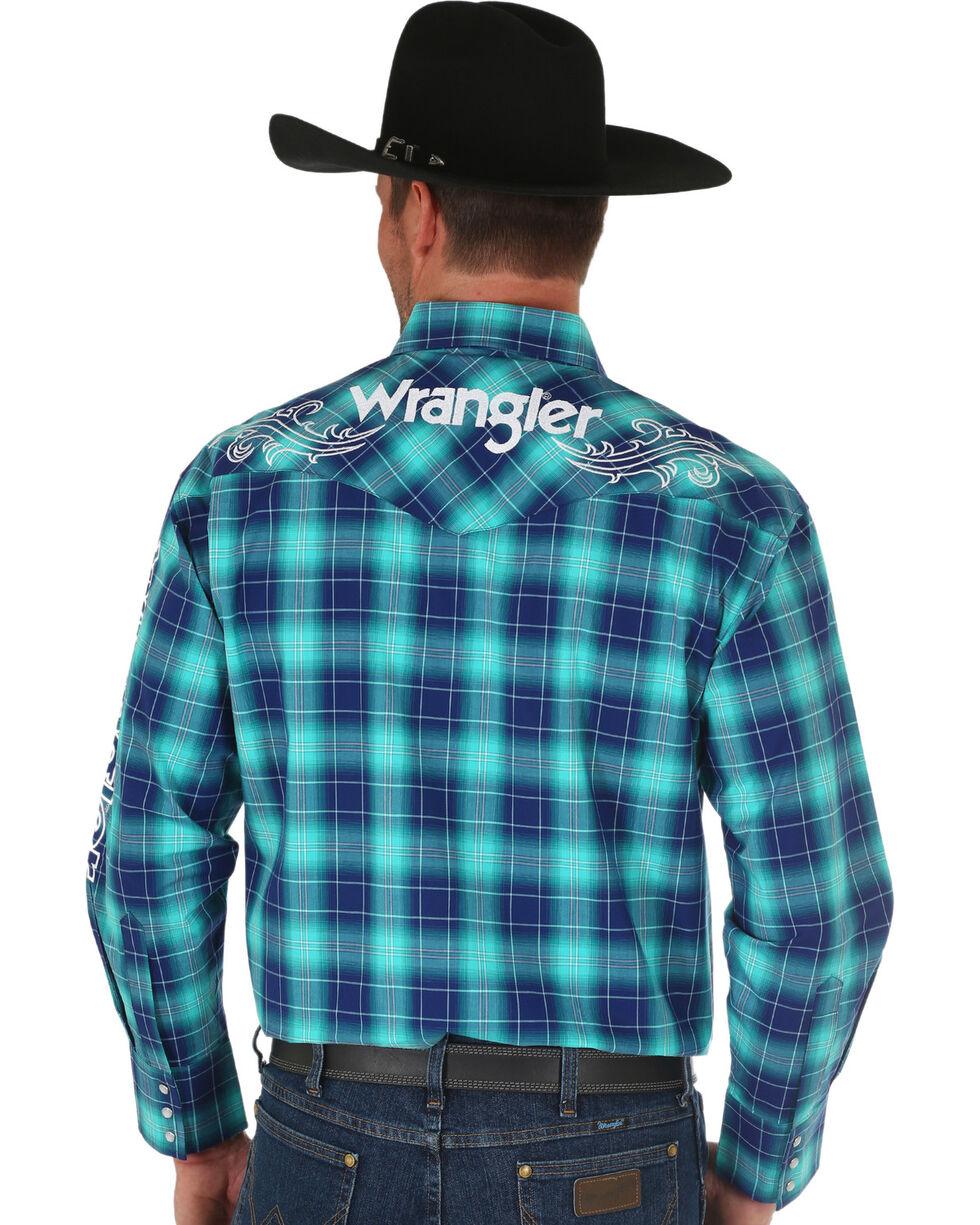 Wrangler Men's Blue Ombre Plaid Classic Logo Shirt , Blue, hi-res