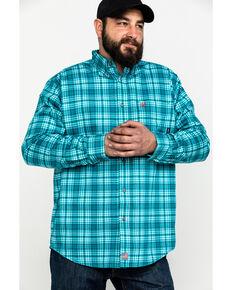 Ariat Men's FR Monterrey Check Plaid Long Sleeve Work Shirt - Big , Teal, hi-res