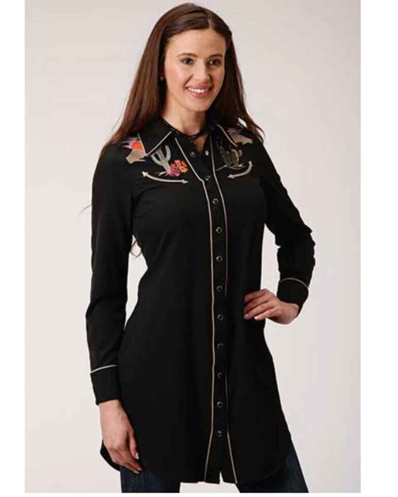 Old West Women's Desert Cactus Long Sleeve Western Dress, Black, hi-res