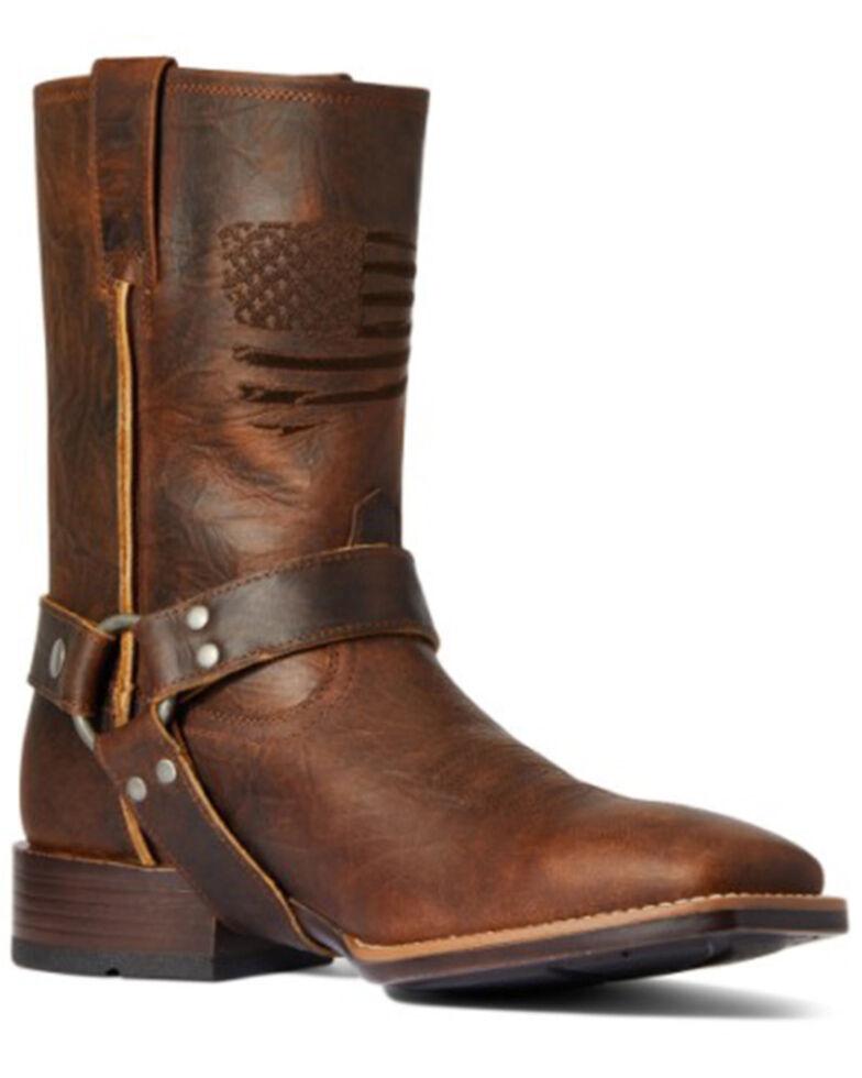 Ariat Men's Top Bar Brown Harness Patriot Ultra Full-Grain Western Boot - Wide Square Toe, Brown, hi-res