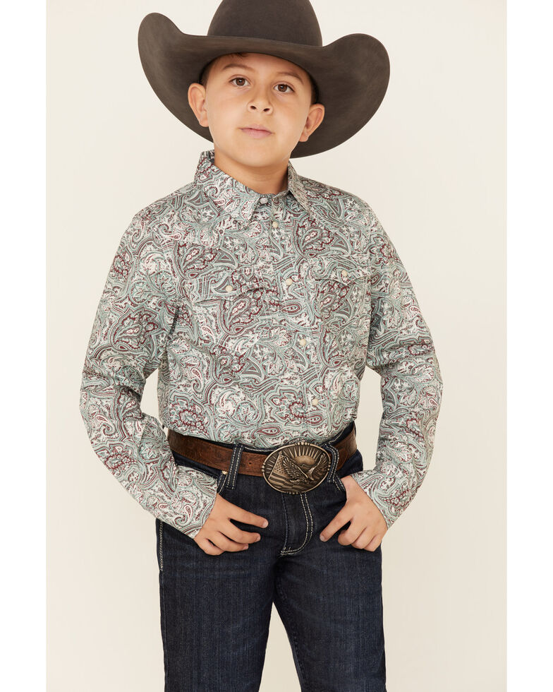 Cody James Boys' Grasslands Paisley Print Long Sleeve Western Shirt , Teal, hi-res