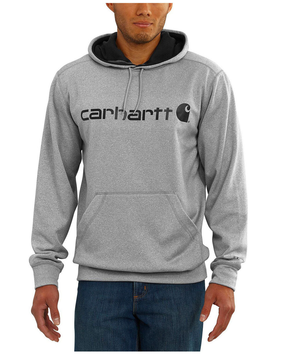 Carhartt Men's Extremes Signature Graphic Hooded Work Sweatshirt- Big & Tall , Heather Grey, hi-res