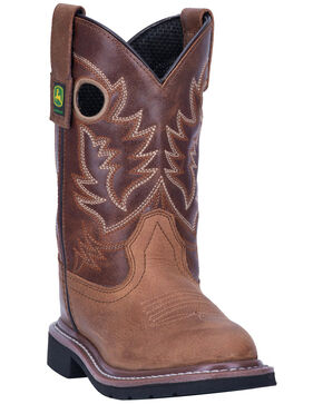 John Deere Kids' Johnny Popper Western Boots - Round Toe, Tan, hi-res