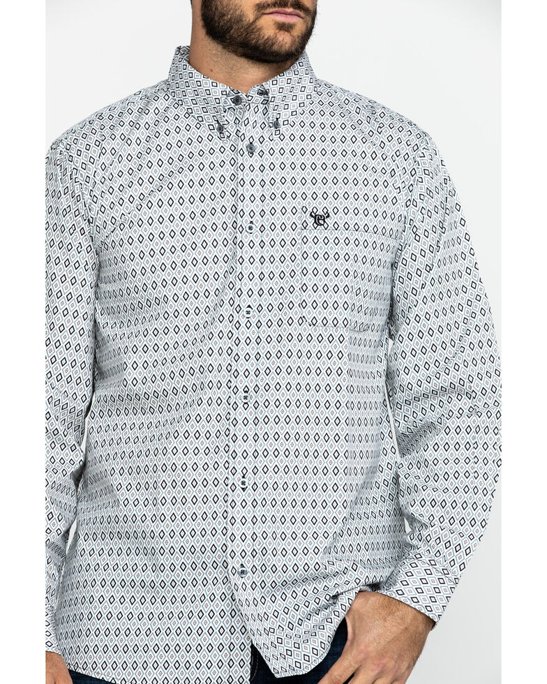 Cowboy Hardware Men's Diamond Love Print Long Sleeve Western Shirt , Black, hi-res