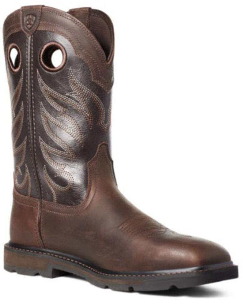 Ariat Men's Groundwork Western Work Boots - Steel Toe, Brown, hi-res