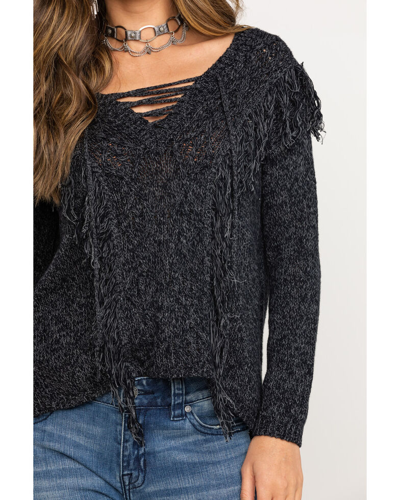 Shyanne Women's Lace Up Neck Fringe Pullover Sweater, Charcoal, hi-res