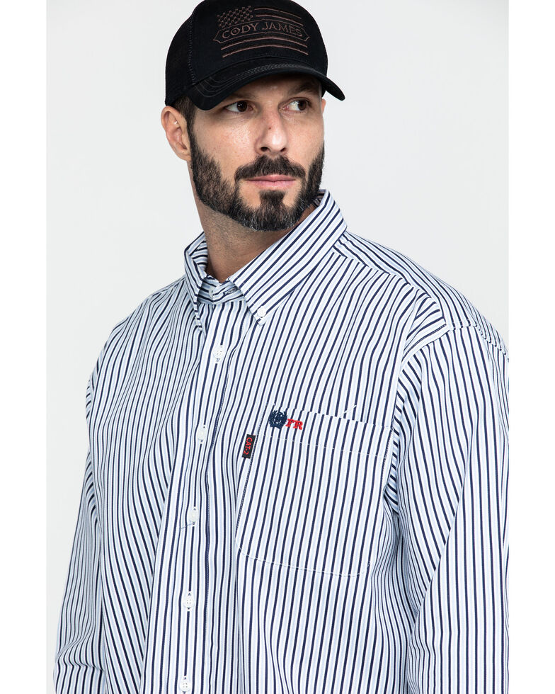 Cinch Men's FR Lightweight Vertical Striped Long Sleeve Work Shirt , Navy, hi-res