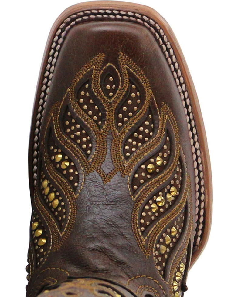 Corral Women's Crystal Inlay Square Toe Boots, Brown, hi-res