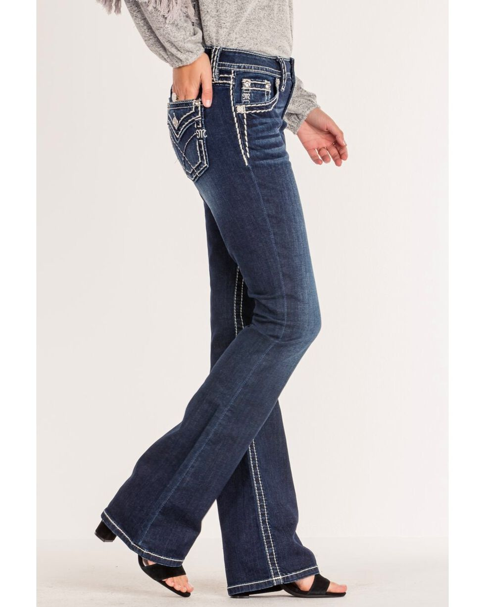 Miss Me Women's Criss-Crossed Mid-Rise Boot Cut Jeans , Blue, hi-res