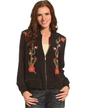 Angel Premium Women's Flora Embroidered Bomber Jacket, Black, hi-res