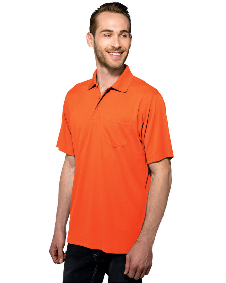Tri- Mountain Men's Osha Orange XL Vital Pocket Polo - Tall , Bright Orange, hi-res