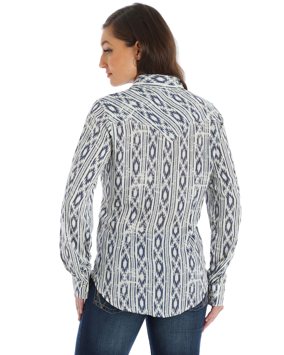 Wrangler Women's Aztec Print Snap Front Long Sleeve Western Shirt , Blue, hi-res