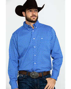 Wrangler 20X Men's Blue Small Paisley Print Long Sleeve Western Shirt , Blue, hi-res
