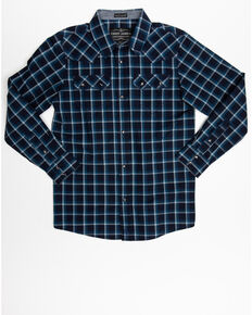 Cody James Boys' Reins Woven Plaid Long Sleeve Western Shirt , Navy, hi-res