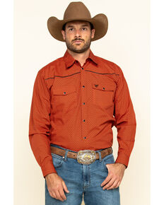 Cowboy Hardware Men's Orange Honeycomb Geo Print Long Sleeve Western Shirt , Orange, hi-res