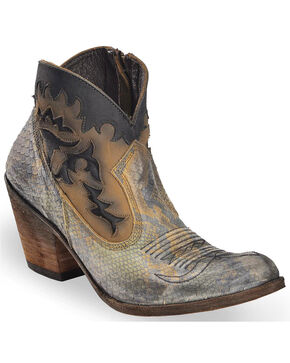 Liberty Black Women's Python Fileteado Verde Short Western Boots - Round Toe, Taupe, hi-res