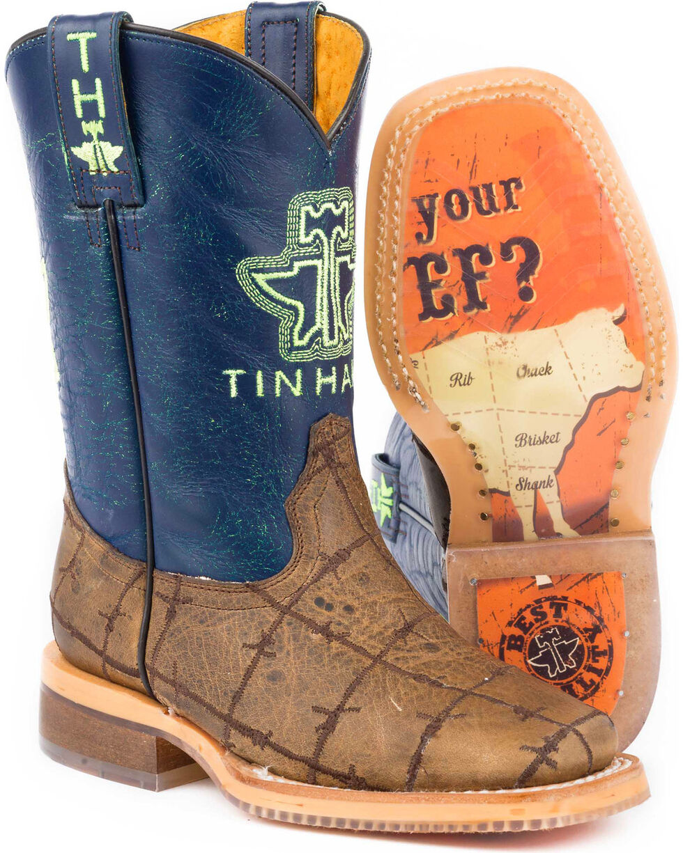 Tin Haul Boys' Barbed Wire All Beef Sole Cowboy Boots - Square Toe, Brown, hi-res