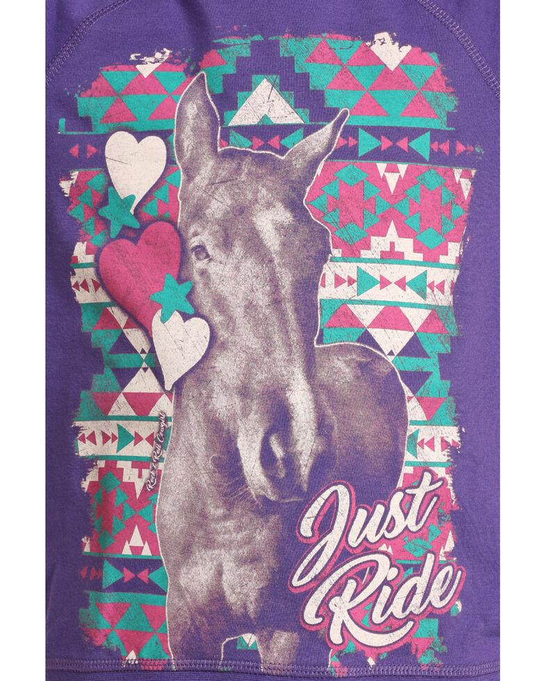 Rock & Roll Cowgirl Girls' Purple Just Ride Long Sleeve Sweatshirt Tee, Purple, hi-res