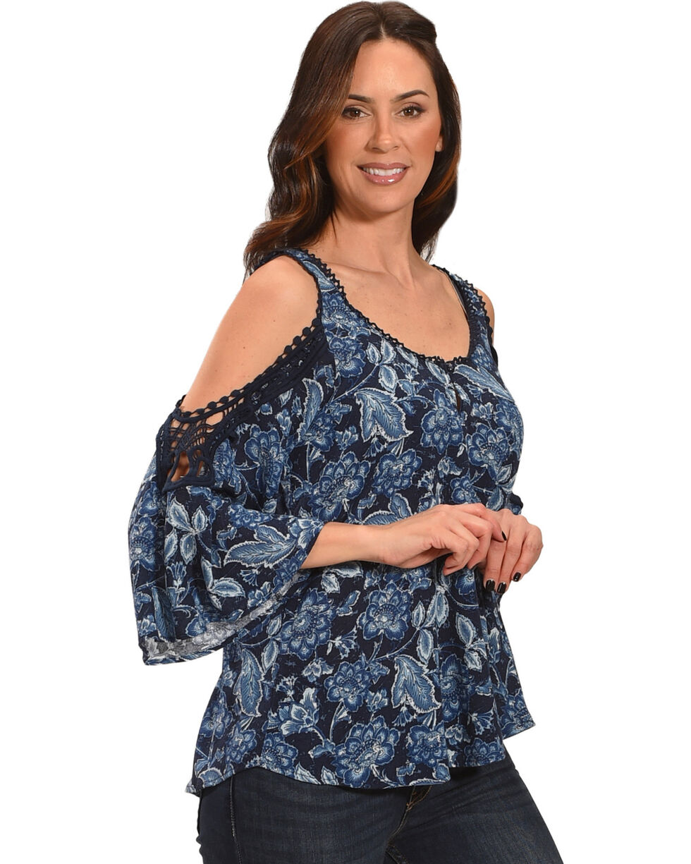 Ivory Love Women's Navy Floral Crochet Cold Shoulder Top, Navy, hi-res