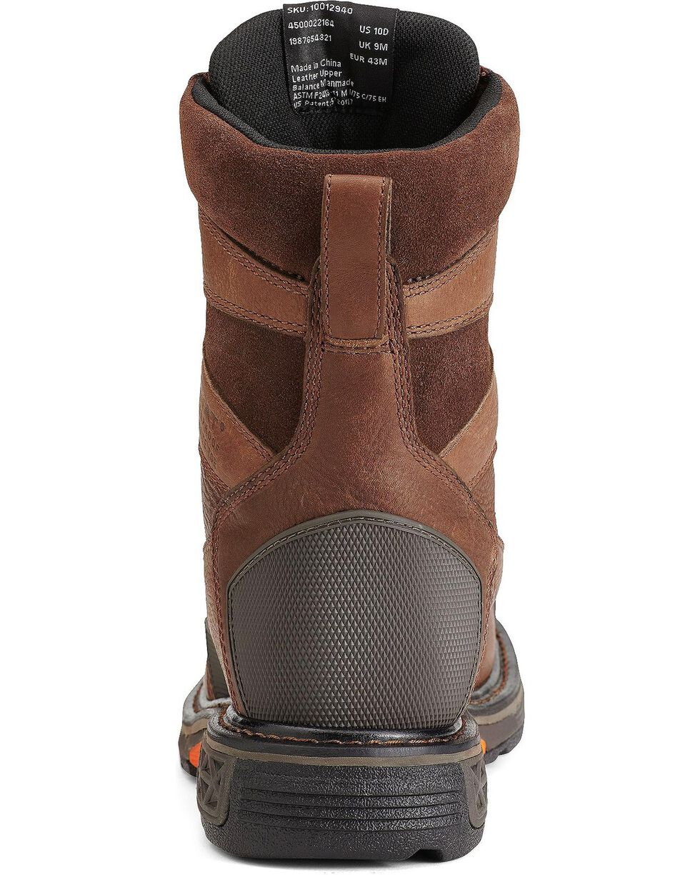 "Ariat Men's Overdrive® 8"" Wide Square Toe H20 CT Work Boots, Chestnut, hi-res"