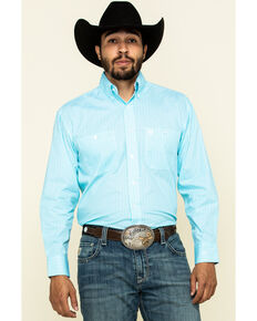 George Strait by Wrangler Men's Light Turquoise Geo Print Long Sleeve Western Shirt - Big , Turquoise, hi-res