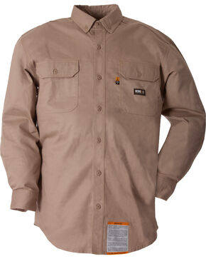 Berne Flame Resistant Button Down Work Shirt - 3XL and 4XL, Khaki, hi-res
