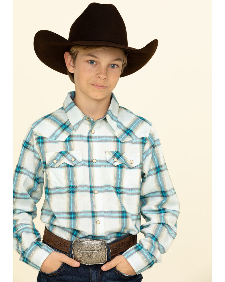 Cody James Boys' Duck Spinner Plaid Long Sleeve Western Shirt , Turquoise, hi-res