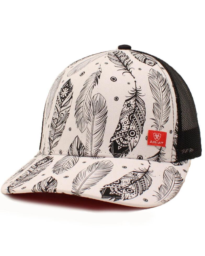 Ariat Women's Black Feathers Print Mesh Cap , White, hi-res