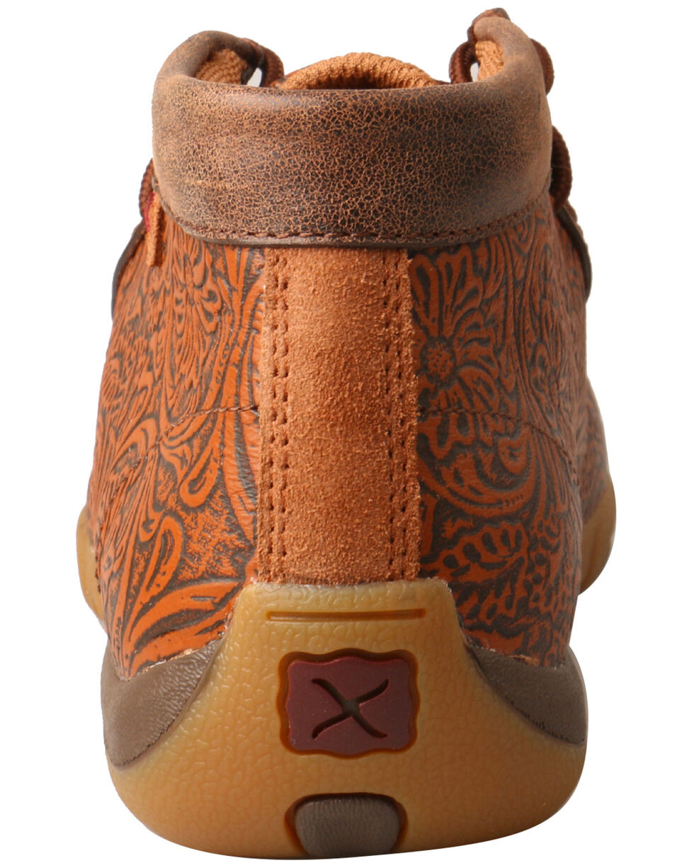 Twisted X Women's Tooled Driving Moccasin Shoes - Moc Toe, Tan, hi-res