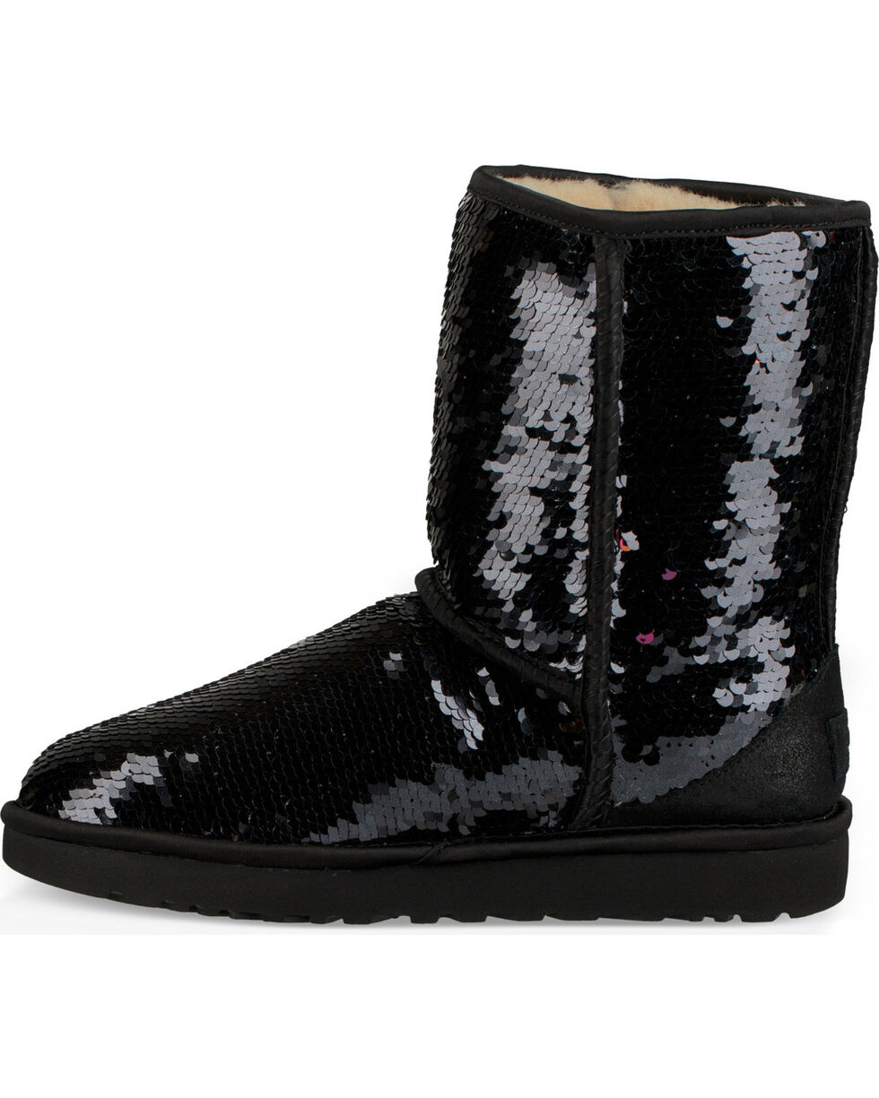 UGG Women's Black Classic Short Sequin Boots, Black, hi-res