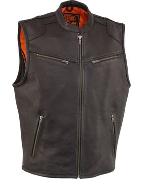 Milwaukee Leather Men's Black Cool Tec Leather Vest - Big 3X , Black, hi-res