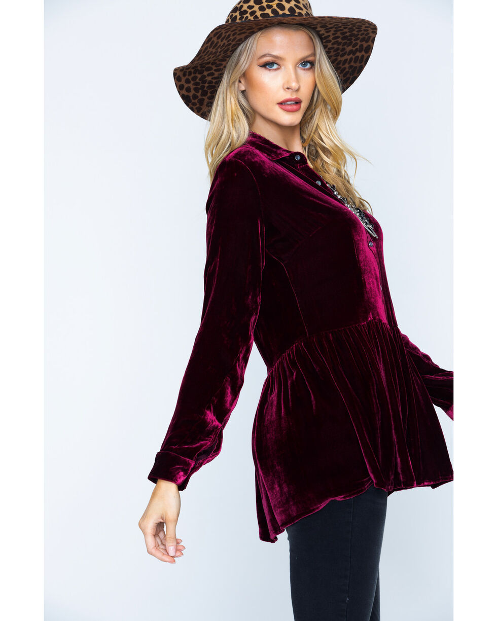 Ryan Michael Women's Silk Velvet Shirt , Burgundy, hi-res