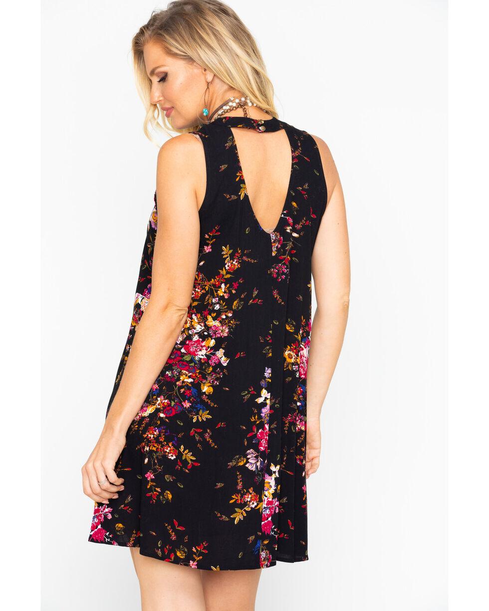 Eyeshadow Women's Floral Choker Print Sleeveless Dress , Black, hi-res