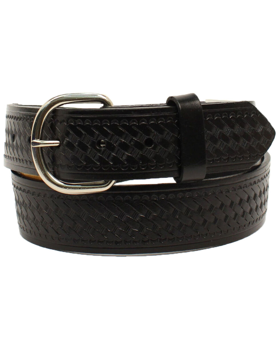 M&F Western Men's Big Basket Weave Leather Belt, Black, hi-res