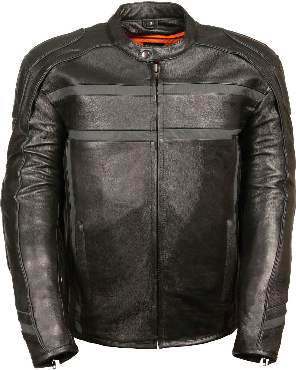 Milwaukee Leather Men's Black Reflective Band Scooter Jacket , Black, hi-res