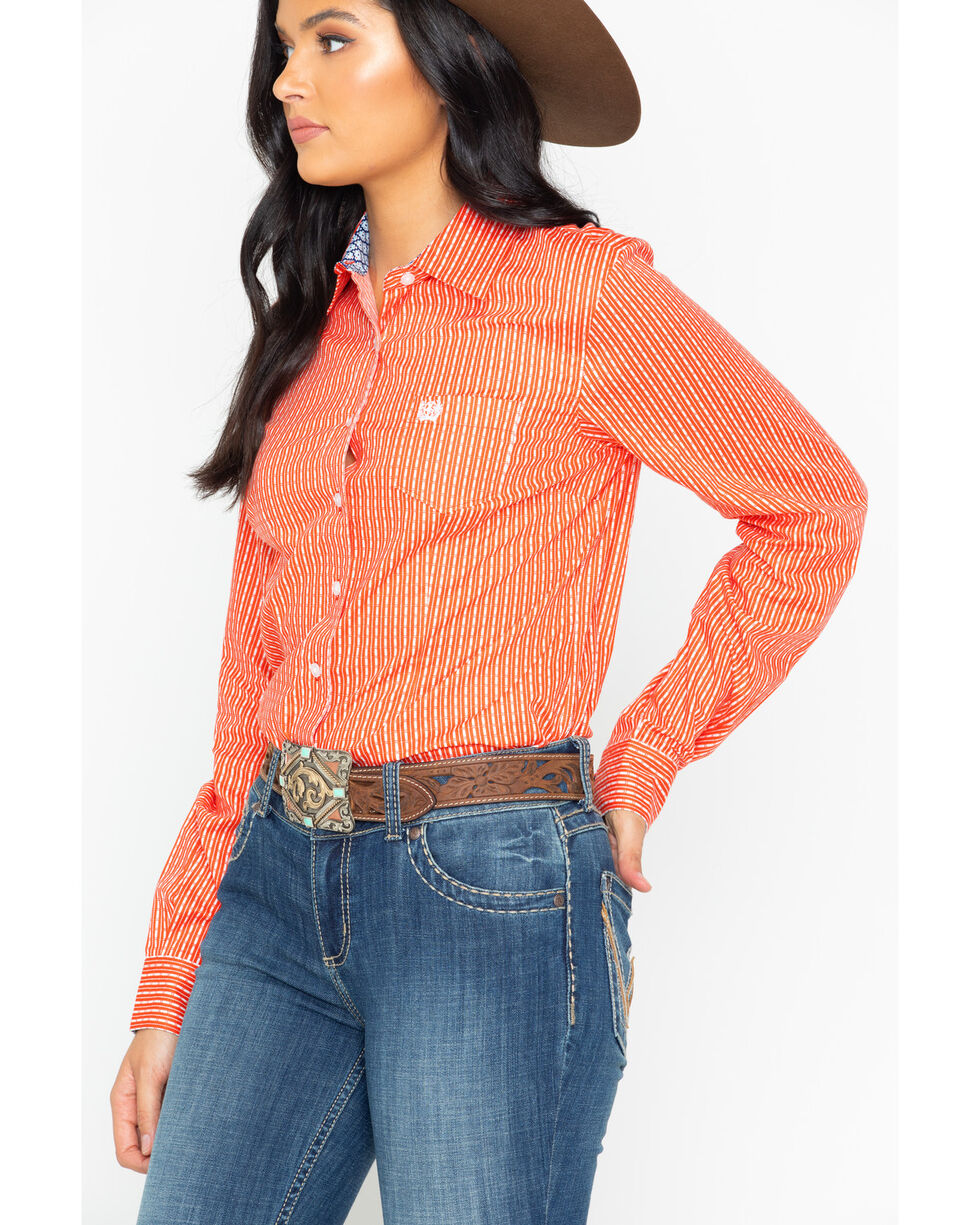 Cinch Women's Pattern Long Sleeve Button down Shirt , Orange, hi-res