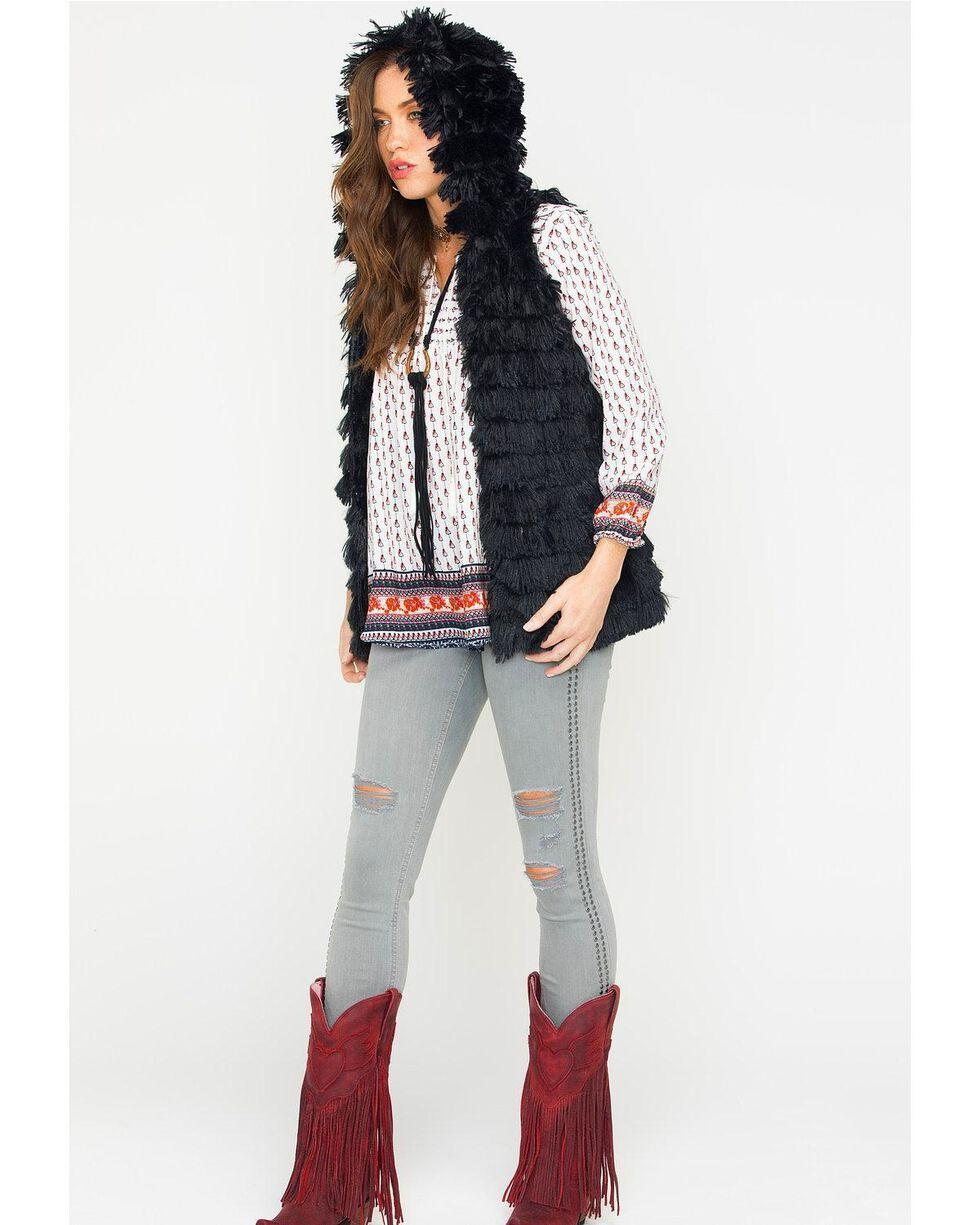 R Cinco Ranch Women's Furry Hooded Vest, Black, hi-res