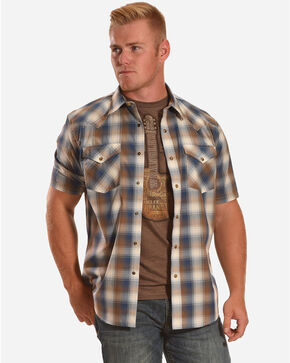 Pendleton Men's Frontier Plaid Short Sleeve Shirt, Blue, hi-res