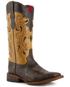 Ferrini Women's Shimmer Western Boots - Wide Square Toe, Chocolate, hi-res