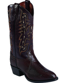 "Tony Lama Men's 13"" Teju Lizard Western Boots, Chocolate, hi-res"