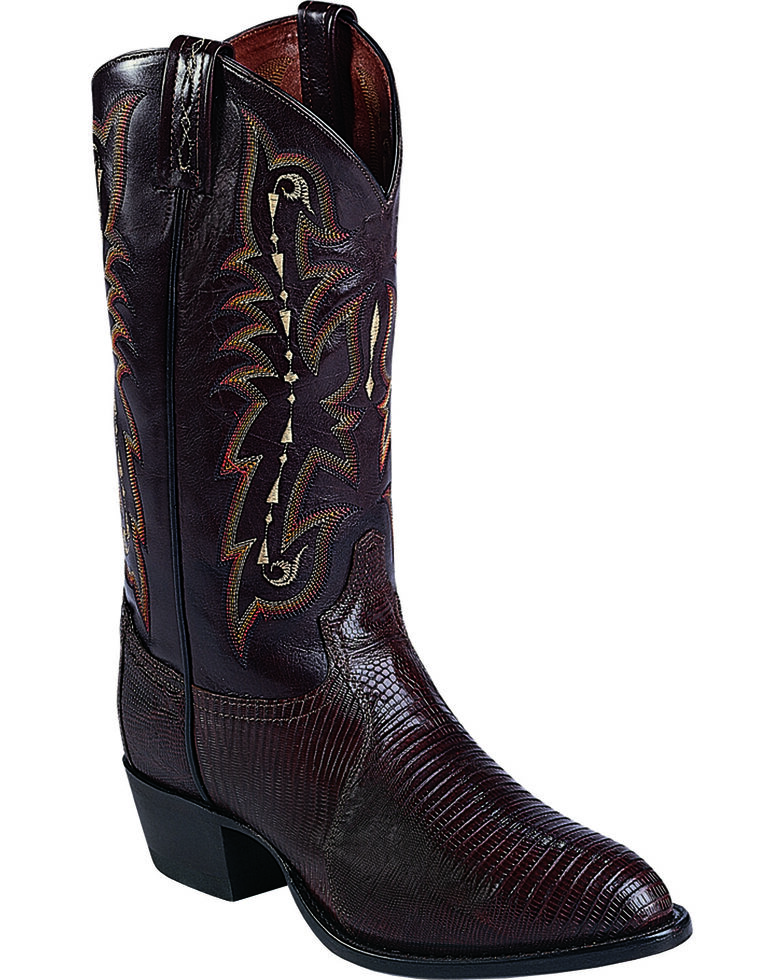 "Tony Lama Men's 13"" Teju Lizard Western Boots, Chocolate, hi-res"